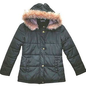 Ci Sono Girls Puffer Fur Hood Coat Medium